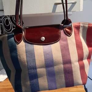Äkta Longchamp Depose canvas Multri striped Tote bag