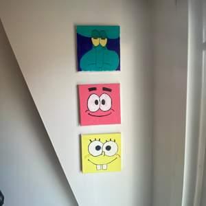 Självmålade tavlor. Svampbob, Patrik och bläckvard.
