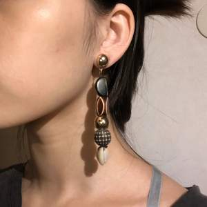 The earrings made of wood and shells have a national temperament