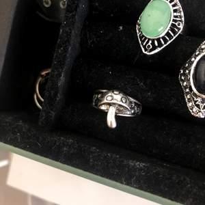 Trendig silvrig ring som ser ut som en flugsvamp. Diameter 1,8 cm. Frakt 12 kr.