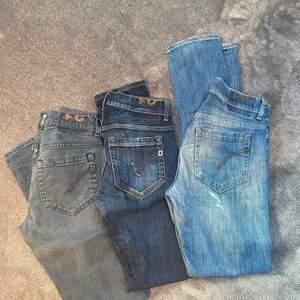 Riktigt snygga dondup jeans i superbra skick. Bild nr 1: Alla tre byxor är i modellen George och är i storlek 31. Bild nr 2: Skitsnygga jeans i modellen George storlek 29.