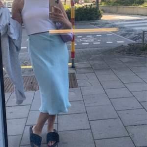 Säljer min jätte fina ljus blåa siden kjol från bikbok. Köptes förra sommaren men kom inte så mycket till användning😩 säljer nu vidare den, frakt tillkommer & hör av er om fler bilder önskas💙