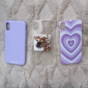 Mobilskal till iPhone X, aldrig använda pga ny telefon! 1 för 50kr eller alla 3 för 100kr. Frakt 24kr💕 Lila med hjärtat är såld!