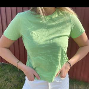 En helt vanlig t shirt från zara! Färgen gör sig inte alls rätt på bilden utan försökte lägga in en liknande färg i slutet! Tröjan är väldigt grön nästan mot de neon gröna hållet men det är inte alls vad bilderna visar! Kan skicka mer bilder privat i dagsljus på tröjan. Frakt ingår i priset💗