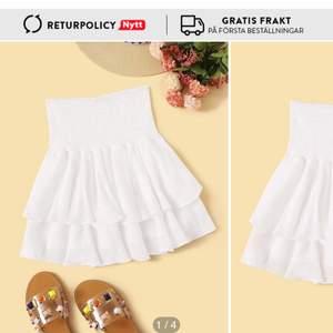 Säljer en jätte fin vit volang  kjol från SHEIN jag säljer den för att jag aldrig har använt den jag köpte den från SHEIN för 120 och säljer för 90 kr köparen står för frakten