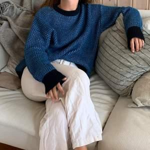 Säljer min blå stickade tröja från weekday! Oversized, 200kr💙