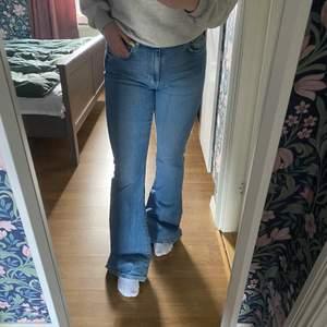 Blå lätt utsvängda byxor från Gina, säljs då dom är för långa på mig som är 161 cm, därav lite slitningar bak vid hälen men inget man stör sig på!😍 Behöver dock inte vara jättemycket längre för att de ska sitta snyggt, men på mig va de tyvärr lite för långa. Inget att anmärka på utöver lätt slitning nere på benen💘 Nypris 499kr!