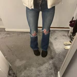Lågmidjade jeans med hål i knäna, storlek 34