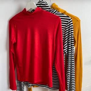 säljer tre polotröjor i olika färger, den randiga är från H&M medan de andra två är från Gina Tricot. alla är i strl. L. köp alla 3 för priset av 2 eller välj själv! 1 st = 60 kr