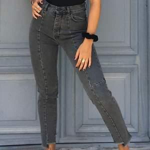 Så coola gråa jeans  med sömmar. Jag har vanligtvis 26 i jeans och sphär sitter dom på mig