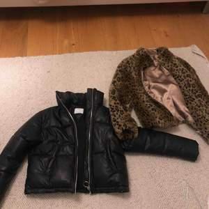 Två nya jackor ena i skinn andra leopard päls