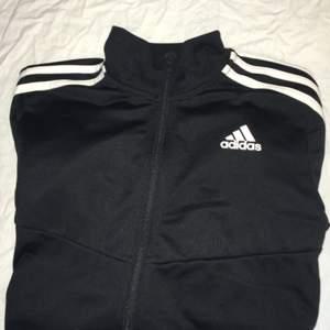 Snygg Adidaströja i joggingtyg. Hög krage, ingen luva, mjukt material på insidan. Säljs pga att den tyvärr blivit för liten. Skriv till mig för fler bilder, mått eller andra frågor! :)