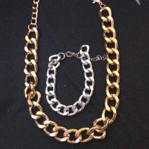 kedjor, halsband med armband, silver och guld säljer billigt vill bli av med allt