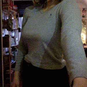 långärmad grå ralph lauren tröja, storlek M