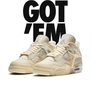 Säljer nu min Air Jordan 4 x off white. Den är helt oanvänd och aldrig testat. Köpte från Nike kvitto finns. Skorna är storlek 42,5 EU