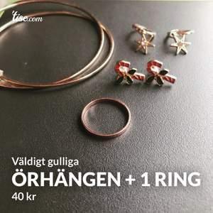 Väldigt gulliga, ringen och dom stora örhängen är i färgen rosegold. Stjärnorna är guldiga och sedan så har vi små polkagrisar :)