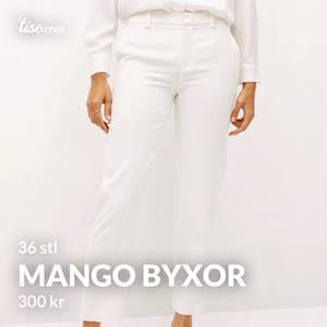 Har ett par ny använda Byxor från Mango, obs att de är i Cream white(dm för bild) de har även knapp på midjan.  De är för tajta på låren och stor runt midjan. Puta vid snabb köp  Nypris 599kr säljs för 300