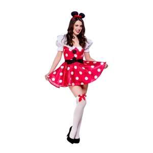 Är använd 1 gång. Inkluderar kort, röd klänning med vita prickar och puffaxlar med två stora knappar framtill. Ingår även ett matchande skärp och ett diadem med två öron.