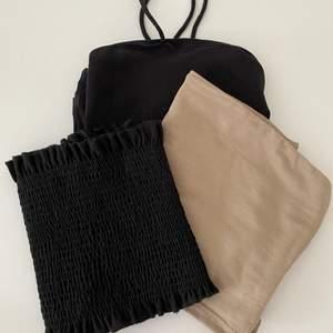 Tre toppar från Gina! Beige i S, svart bandaeu i Xs och svarta linnet i M!! 50kr st, paketpris går att fixa💞💞