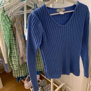 Säljer denna superfina blå stickade tröjan. Den är köpt secondhand men jag har aldrig använt den pga har många liknande. Storlek 36/38 men passar mig som vanligtvis är xs men även dem som är d då den är stretchig.