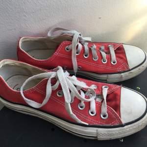 Knappt använda låga röda converse, strl 5 1/2..vilket jag antar motsvarar ung 38/ 38,5?