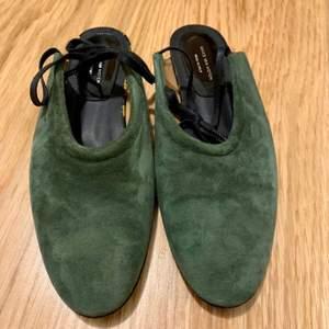Dries Van Noten dam skor Slingback Mules Grön suede Endast använda en gång Stl. 38
