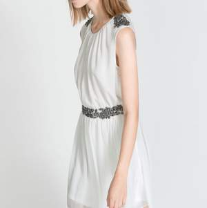 ZARA white dress with silver embroidery on the waist and shoulders. The dress has lining. Size S, but I think it can fit M as well.  Pick up available in Kungsholmen  Please check out my other items! :)