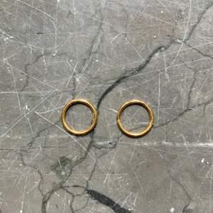Små guldringar kan användas till olika piercingar. 0,7 cm i diameter av kirurgiskt stål. Kommer med presentpåse. Nypris 300 kr.