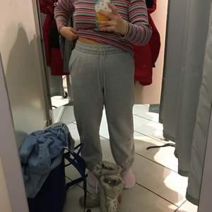 Ett par gråa mjukisbyxor från H&M, strl L men var små i storleken så passar nog mer som en M. Använda ett fåtal gånger eftersom de var för små. Frakt ingår ej