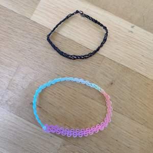 Den svarta är ifrån Monki och den färgglada är ifrån Glitter. Den färgglada har använts någon/några gånger men den svarta är helt oanvänd. Båda är alltså i bra skick och båda ingår. (Köparen står för frakten)