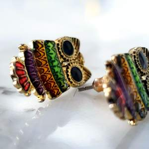 Flerfärgade uggle örhängen. Super söta örhängen i regnbågensfärger. Lätta och bekväma. Köpta för 200kr. Kontakta vid intresse🌈🦉