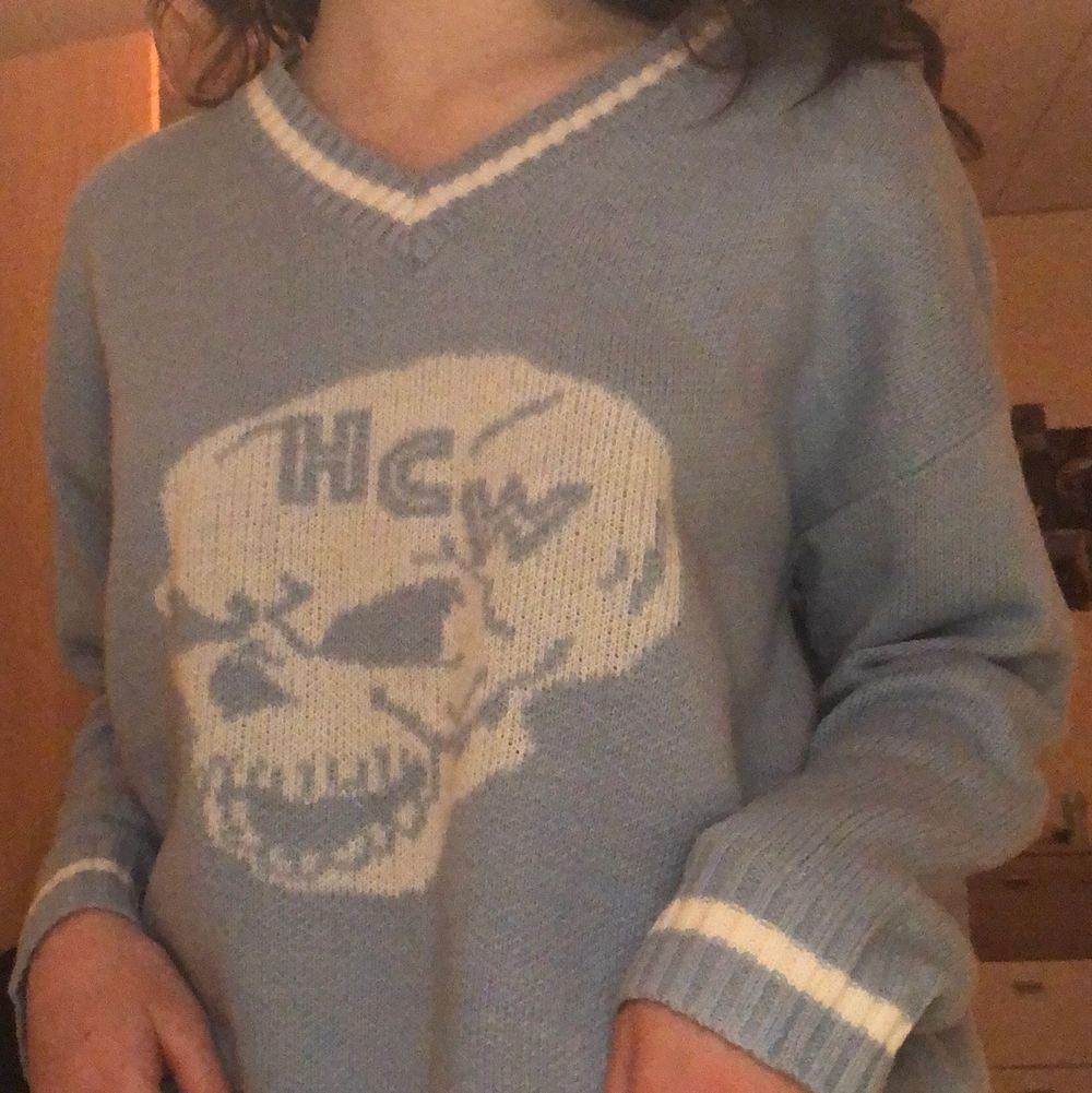 Skit snygg blå tröja från shein!!🦋. Stickat.