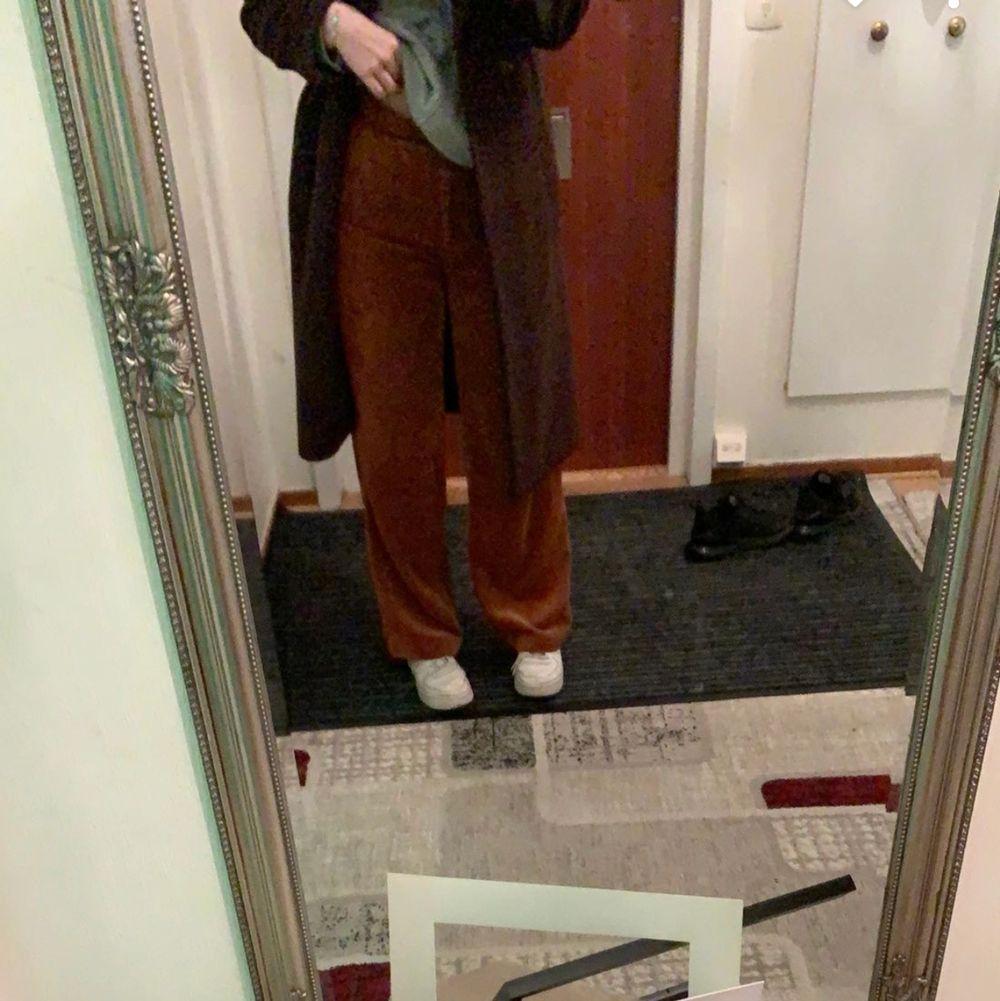 säljer mina skit snygga manchester byxor som jag inte minns vart jag köpt dom ifrån. skit snygg brun färg. är 168 o h dom kommer ner till ankeln på mig.  200+50kr frakt. köptes för 300kr. Jeans & Byxor.