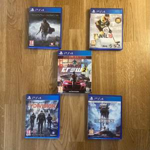 5 olika spel till ps4. Priset varierar från 100-200kr. Perfekt skick på alla, spelen är endast genomspelade en gång. Köparen betalar frakt.