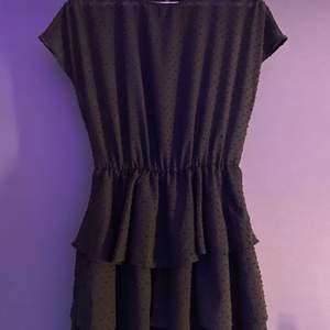 Söt svart klänning med lite prickigt mönster och tre volanger nedantill. Perfekt för sommaren och funkar bra med tröja över. Strl 34 och säljer för 150kr 🖤 (skriv för tydligare bilder) Lite genomskinligare överdel och fodrad underdel!