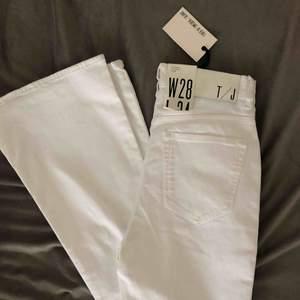 Nya vita utsvängda jeans från Tiger of Sweden. Aldrig använda pga felköp av storlek. 28/34 (alltså ca S/M i midjan) och passar därför utmärkt för långa, 175-180 cm. ORDPRIS 999kr, säljer för 400 + frakt 60kr (eller mötas upp i Uppsala) 💫💫