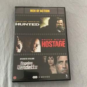 Säljer dessa 3 filmer i ett kit!! Filmerna heter hunted, hostage, angelos vendetto
