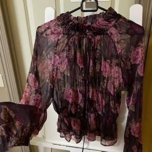 Säljer min fin blus som har en öppning i mitten vid brösten, den är också genomskinlig och passar väldigt fint till Vår&Sommar💜.