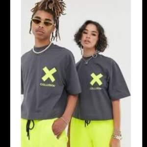 Collusion tshirt, sparsamt använd! Mörkgrå/neongul