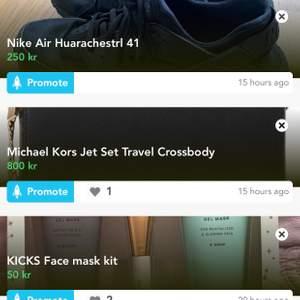 Nike air huarace storlek 41, skick 4/5. Äkta Michael kors väska, skick 4,8/5. Kicks face mask kit SÅLD. Skriv gärna vid intresse så skickas fler bilder och info!