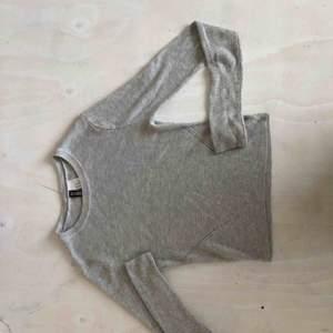 H&M stickad ljusgrå tröja tight men har stretch, slutar på höftbenet (så normallängd?) gratis frakt 60kr