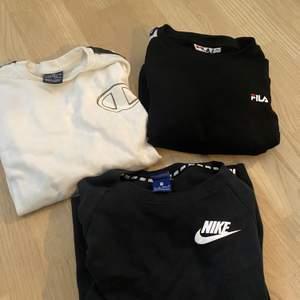 Champion sweatshirt barnstolek L motsvarar XS/S ▪️Fila sweatshirt storlek 36▪️Nike sweatshirt storlek XS ▪️150 kr/st eller 380kr för alla▪️Köparen står för eventuella tillägg av frakt
