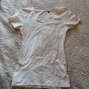 Vit basic t-shirt storlek M, figur sydd, liten i storleken, använd 1 gång bra skick, säljes då den är för liten för mig.