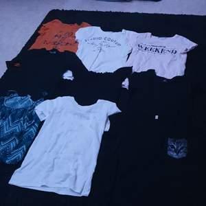 9 T-shirtar/linnen, paketpris, kom med bud, storlekar mellan xs/s
