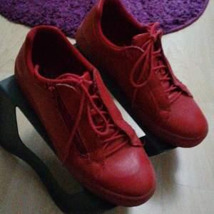 Ett par skit coola röda skor i storlek 40 men passar 39 med🥰 dragtjedja och snörning så fina🥰 aldrig använda så i superfint skick🥰