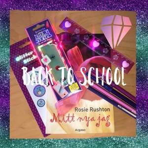 Back to school bundle💜 Bok (den är jättebra!), pennor, klistermärken, linjal, tejp & klisterknapp att sätta på hemknappen på telefonen. FRAKT INGÅR💜💚💜