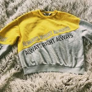 Grå gul sweatshirt från newyorker, köptes förra sommaren och har användts en gång. Inklusive frakt