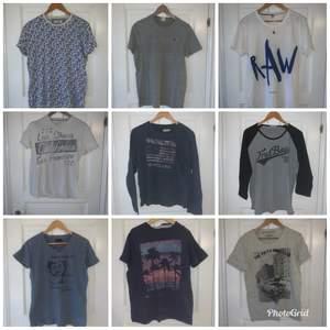 Diverse T-shirts i märkena som Levis, G-drar, Replay mm. De är i storlek small/medium(herr). Paketpris 500kr+frakt
