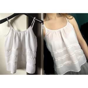 Vitt linne med spetsdetaljer, knappt använt så väldigt fint skick!💕