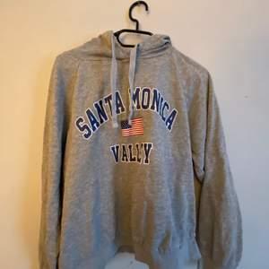 En grå hoodie från Gina tricot i storlek L men sitter som en S. Hyfsat använd men ingenting som syns på plagget.